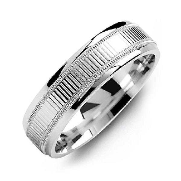 Ridged Men's Solid Gold White Ring with Milgrain Edges