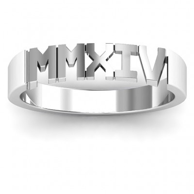 Roman Numeral Unisex Graduation Solid White Gold Ring