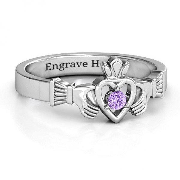 Round Stone Claddagh Solid White Gold Ring