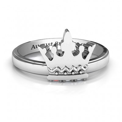 Royal Family Princess Tiara Solid White Gold Ring