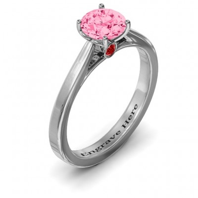 Royal Tulip Solid White Gold Ring with Bezel Collar Stone