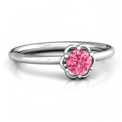 Scarlet Flower Solid White Gold Ring