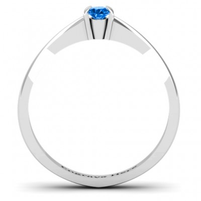 Semi Bezel Set Solitaire Solid White Gold Ring