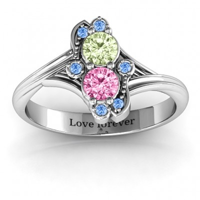 Sense of Style Two Stone Solid White Gold Ring