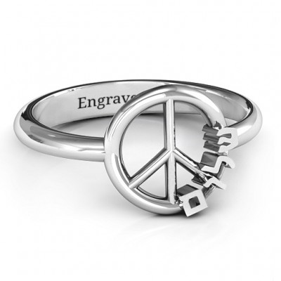 Shalom Peace Solid White Gold Ring