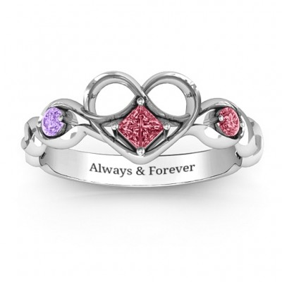 Shimmering Infinity Princess Stone Heart Solid White Gold Ring