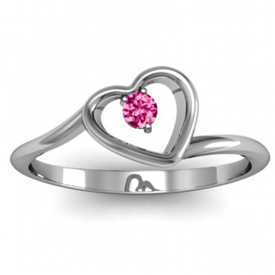 Single Heart Bypass Solid White Gold Ring