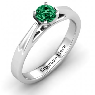 Ski Tip Solitaire Solid White Gold Ring