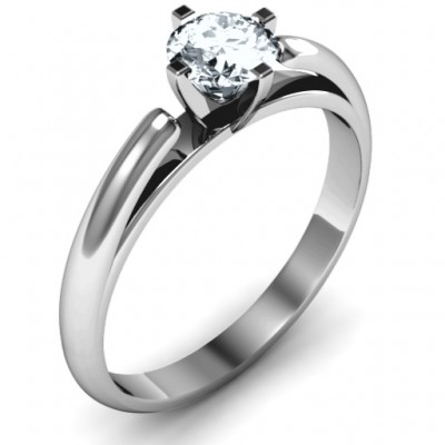 Ski Tip Solitaire Round Solid White Gold Ring