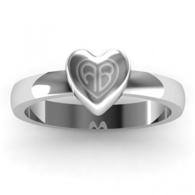 Small Engraved Monogram Heart Solid White Gold Ring