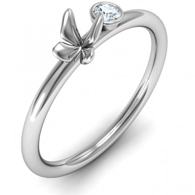 Soaring Butterfly with Stone 'Flower' Solid White Gold Ring