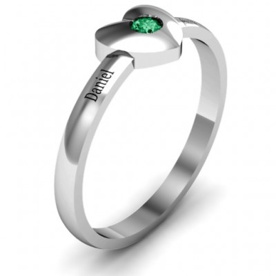 Solid Heart with Single Gemstone Solid White Gold Ring