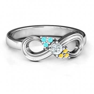 Solitaire Infinity Solid White Gold Ring with Accents