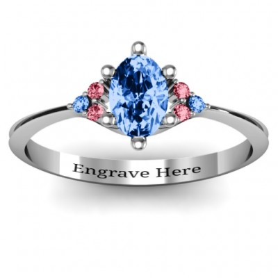 Solitaire Oval with Triple Accents Solid White Gold Ring