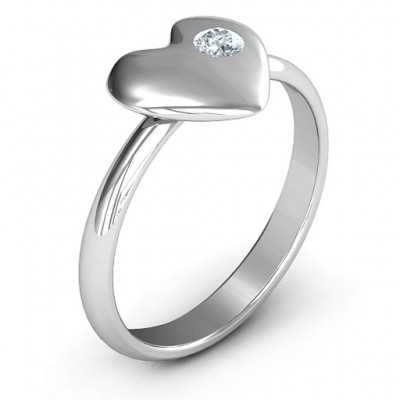 Soulmate's Heart Solid White Gold Ring