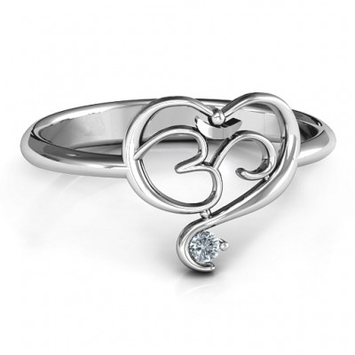 Spiritual Heart Om Solid White Gold Ring