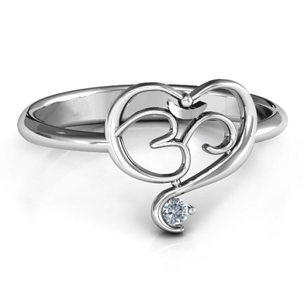 Spiritual Heart Om Solid White Gold Ring