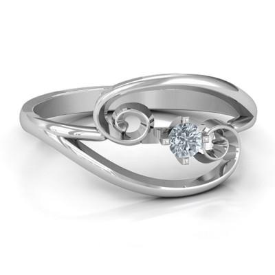 Split Shank Swirl Solid White Gold Ring