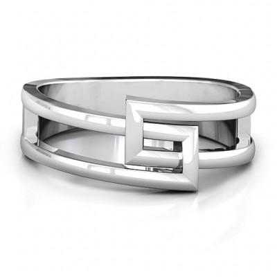 Square on Square Geometric Solid White Gold Ring