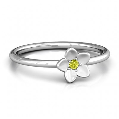 Stackr 'Azelie' Flower Solid White Gold Ring