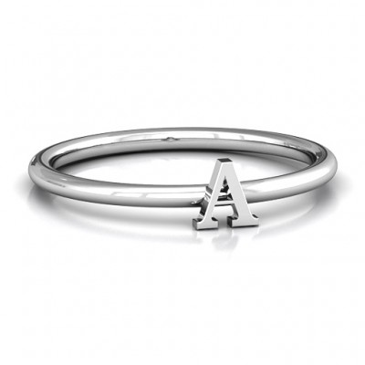 Stackr A-Z Solid White Gold Ring