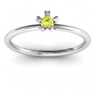 Stackr Hugging Heart Stone Solid White Gold Ring