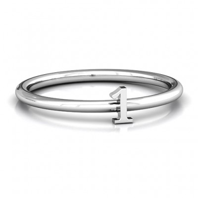 Stackr Number Solid White Gold Ring