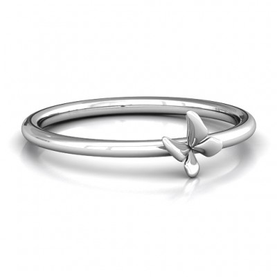 Stackr Soaring Butterfly Solid White Gold Ring