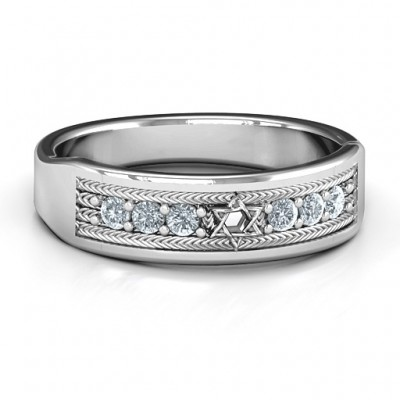 Star of David Band Solid White Gold Ring