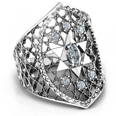 Star of David Lattice Solid White Gold Ring