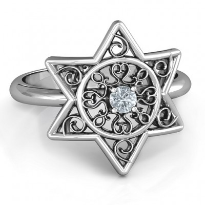 Star of David with Filigree Solid White Gold Ring