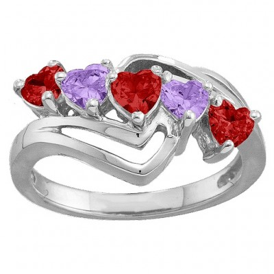 Starburst Heart Solid White Gold Ring