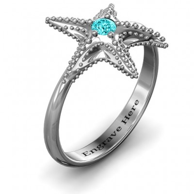 Starfish Solid White Gold Ring