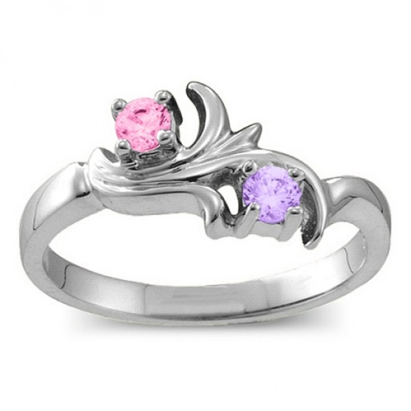 18CT White Gold Nouveau Flame 2-6 Gemstones Ring