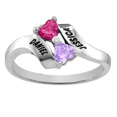 18CT White Gold Rhapsody Kissing Hearts Ring