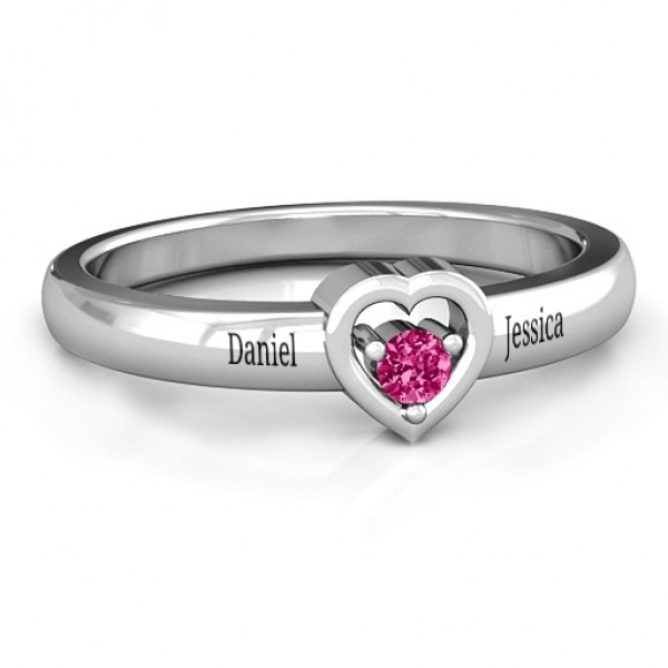 18CT White Gold Solitaire Heart Ring