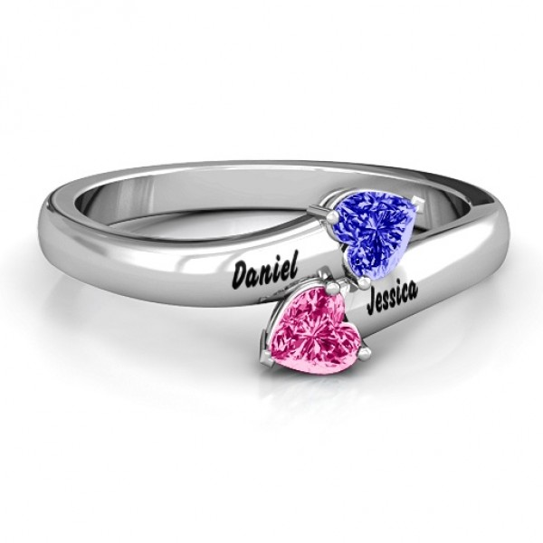 18CT White Gold Tribute Hearts Bypass Ring