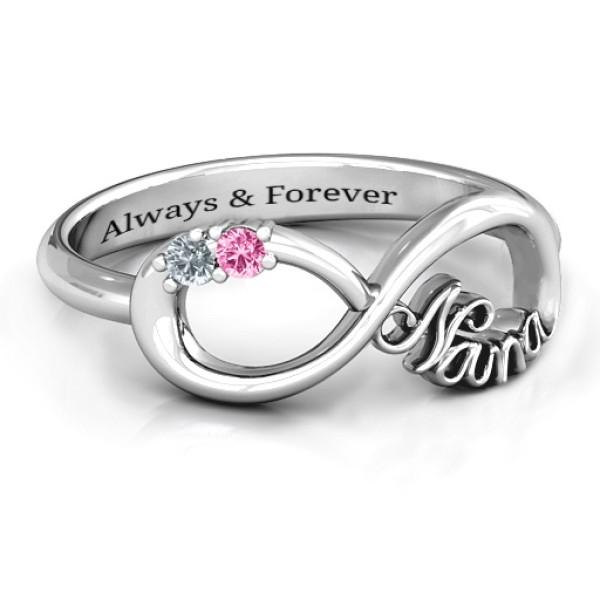 18CT White Gold 2-10 Stone Nana Infinity Ring
