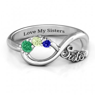 18CT White Gold 2-4 Stone Sisters Infinity Ring
