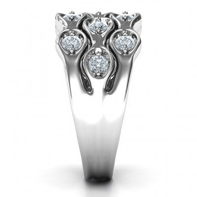 18CT White Gold 3 Tier Wave Ring With Diamonds