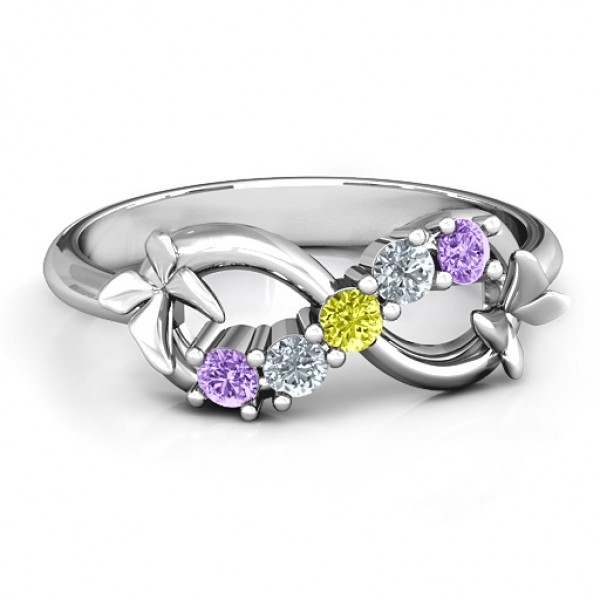 18CT White Gold 5 Stone Infinity with Soaring Butterflies