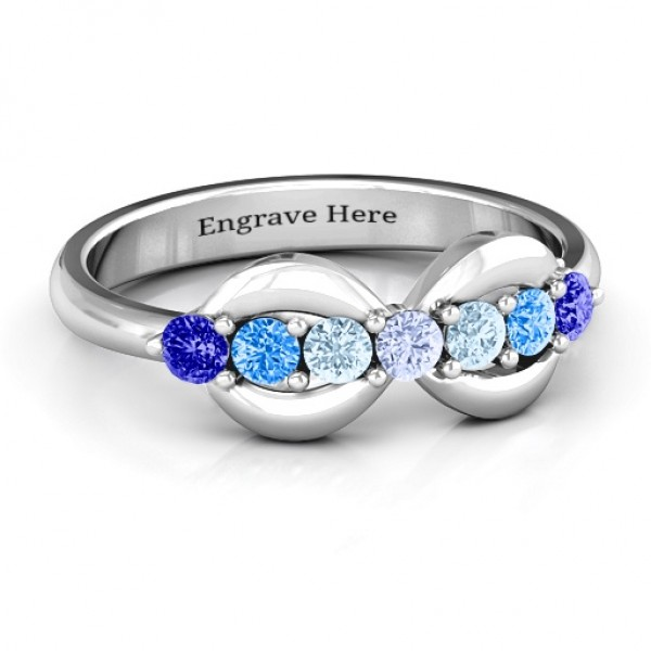 18CT White Gold 7 Stones Infinity Ring