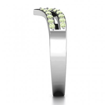 18CT White Gold Ahead Of The Curve Ring with Black Swarovski Zirconia Stones