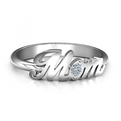 18CT White Gold All About Mom Birthstone Ring