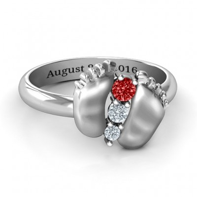 18CT White Gold Baby Foot Birthstone Ring