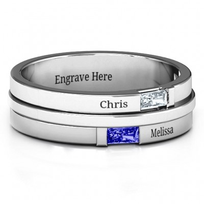 18CT White Gold Baguette Men's Ring