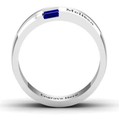 18CT White Gold Baguette Men's Ring