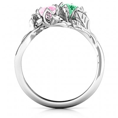18CT White Gold Be-leaf In Love Double Gemstone Floral Ring