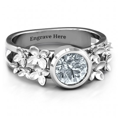 18CT White Gold Beautiful Blossoms with Split Shank Ring and Genuine Diamond Stone