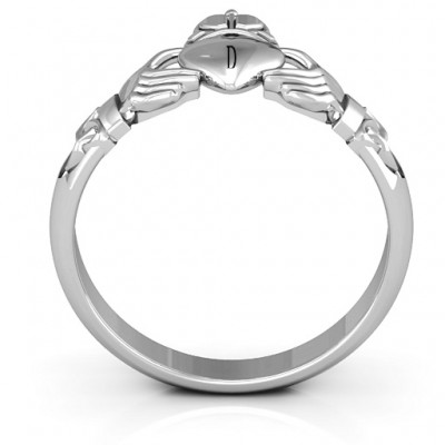 18CT White Gold Celtic Knotted Claddagh Ring